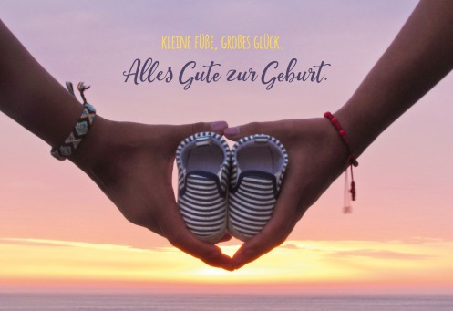 Fair Trade Photo Greeting Card Baby, Colour image, Couple, Hands, Holding, Horizontal, Love, New baby, Ocean, Outdoor, People, Peru, Sea, Shoe, South America, Sunset, Two