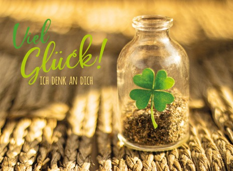 Fair Trade Photo Greeting Card Bottle, Clover, Colour image, Exams, Good luck, Horizontal, New Job, Outdoor, Peru, South America, Success