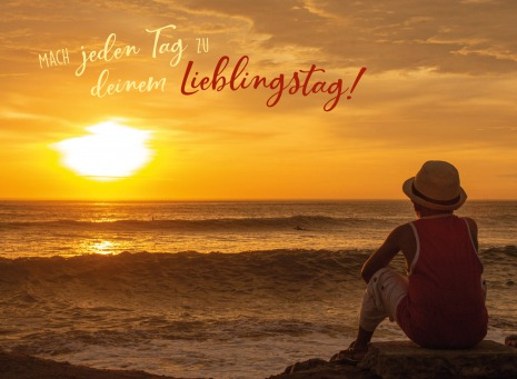 Fair Trade Photo Greeting Card Activity, Beach, Colour image, Colourful, Evening, Horizontal, Light, Looking, Looking away, Meditating, One person, Outdoor, People, Peru, Relax, Relaxing, Sea, Shooting style, Silhouette, Sitting, Sky, South America, Sun, Sunset