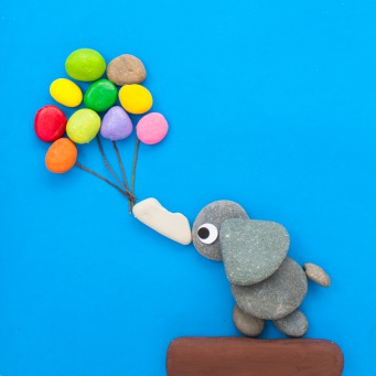 Fair Trade Photo Greeting Card Animals, Balloon, Blue, Colour image, Elephant, Emotions, Freedom, Happiness, Peru, Rock, Sky, South America, Thank you, Vertical