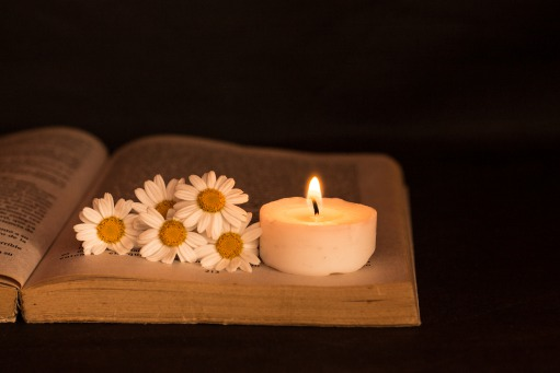 Fair Trade Photo Greeting Card Black, Book, Candle, Colour image, Condolence/Sympathy, Daisy, Flower, Horizontal, Indoor, Light, Love, Night, Peru, South America, White