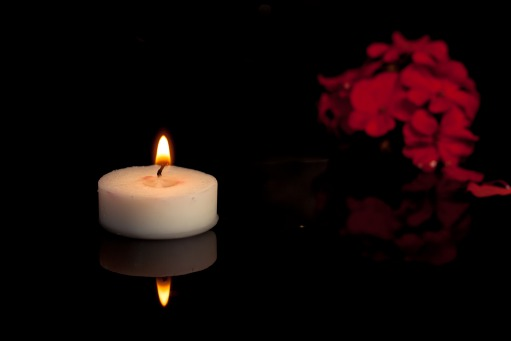 Fair Trade Photo Greeting Card Black, Candle, Colour image, Condolence/Sympathy, Flower, Flowers, Horizontal, Indoor, Light, Night, Peru, Red, South America, Studio, White