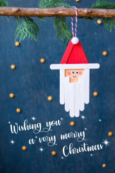 Fair Trade Photo Greeting Card Adjective, Blue, Christmas, Christmas decoration, Colour, Colour image, Object, People, Place, Red, Santaclaus, South America, Star, Vertical