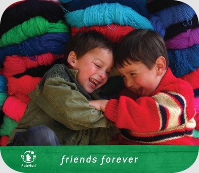 Fair Trade Photo Greeting Card 5-10_years, Activity, Casual clothing, Clothing, Colour image, Colourful, Cute, Day, Friendship, Happiness, Horizontal, Indoor, Joy, Latin, Looking away, Market, People, Peru, Playing, Portrait halfbody, Sitting, Smiling, South America, Together, Two boys, Youth
