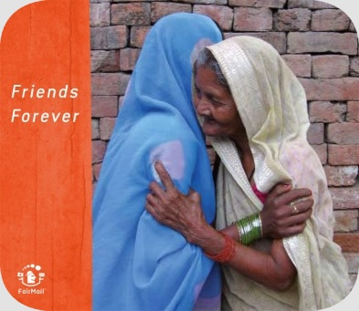 Fair Trade Photo Greeting Card Activity, Asia, Colour image, Cooperation, Dailylife, Elderly, Embracing, Friendship, Hug, India, Love, Multi-coloured, Old age, Outdoor, People, Portrait halfbody, Sari, Streetlife, Together, Trust, Two women, Vertical, Warmth, Wisdom, Woman