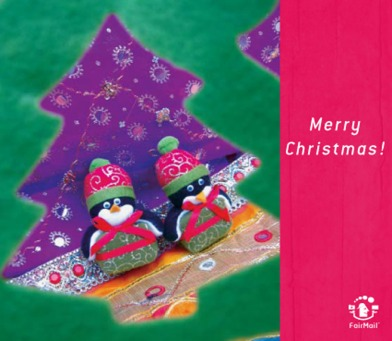 Fair Trade Photo Greeting Card Animals, Asia, Christmas, Colour image, Friendship, India, Pinguin, Tabletop, Tree, Vertical