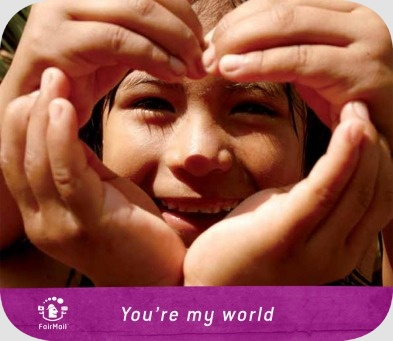 Fair Trade Photo Greeting Card 55-60_years, Activity, Colour image, Cooperation, Emotions, Friendship, Hand, Happiness, Heart, Horizontal, Latin, Looking at camera, Love, One girl, People, Peru, Portrait headshot, Portraits, Smiling, South America, Thinking of you, Together, Two children, Valentines day, Youth