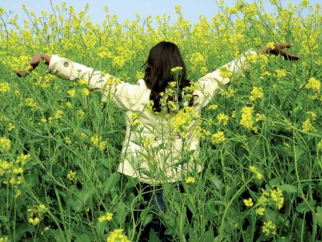 Fair Trade Photo Greeting Card Asia, Balance, Colour image, Day, Earth, Emotions, Enjoy, Flower, Freedom, Garden, Girl, Green, Happiness, Horizontal, India, Nature, One girl, Outdoor, People, Rural, Seasons, Spirituality, Summer, Well done, Yellow