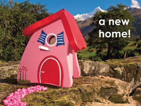 Fair Trade Photo Greeting Card Birdhouse, Colour image, Congratulations, Day, Horizontal, House, Moving, New home, Outdoor, Peru, Pink, Red, Rural, Seasons, Sky, South America, Summer, Tree, Welcome home