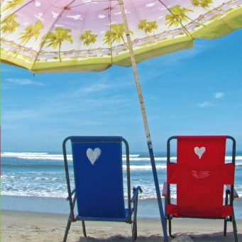Fair Trade Photo Greeting Card Beach, Blue, Colour image, Colourful, Love, Marriage, Peru, Red, Sea, Seasons, Sky, South America, Summer, Together, Umbrella, Valentines day, Vertical