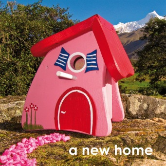 Fair Trade Photo Greeting Card Birdhouse, Colour image, Congratulations, Day, Horizontal, House, New home, Outdoor, Peru, Pink, Red, Rural, Seasons, Sky, South America, Summer, Tree, Welcome home