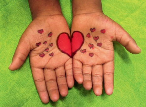 Fair Trade Photo Greeting Card Activity, Asia, Closeup, Colour image, Giving, Green, Hand, Heart, Horizontal, India, Love, Red, Valentines day