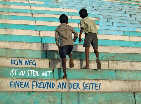 Fair Trade Photo Greeting Card 5_-10_years, Activity, Asia, Asian, Boy, Colour image, Day, Friendship, India, Outdoor, People, Stairs, Streetlife, Together, Two boys, Vertical, Walking, Youth