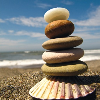 Fair Trade Photo Greeting Card Balance, Beach, Colour image, Condolence/Sympathy, Focus on foreground, Horizontal, Nature, Outdoor, Peru, Safety, Sand, Sea, Seasons, Shell, South America, Spirituality, Stone, Summer, Thinking of you, Wellness