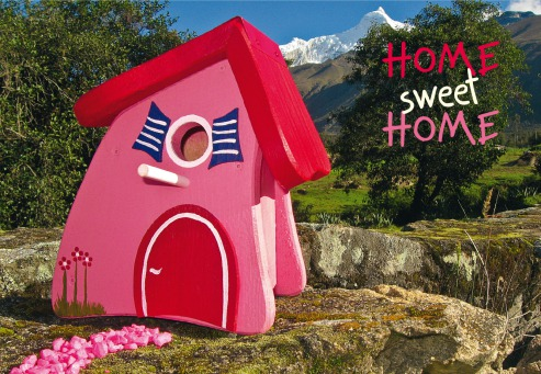 Fair Trade Photo Greeting Card Birdhouse, Colour image, Congratulations, Day, Horizontal, House, Mountain, New home, Outdoor, Peru, Pink, Red, Rural, Seasons, Sky, South America, Summer, Tree, Welcome home
