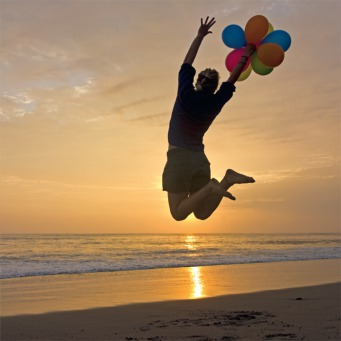Fair Trade Photo Greeting Card Activity, Backlit, Balloon, Beach, Birthday, Colour image, Evening, Horizontal, Invitation, Jumping, One girl, Outdoor, Party, People, Peru, Sand, Silhouette, South America, Water