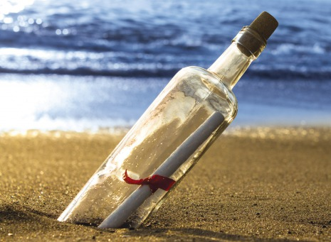 Fair Trade Photo Greeting Card Beach, Bottle, Closeup, Day, Horizontal, Love, Outdoor, Peru, Sand, Sea, South America, Summer, Valentines day