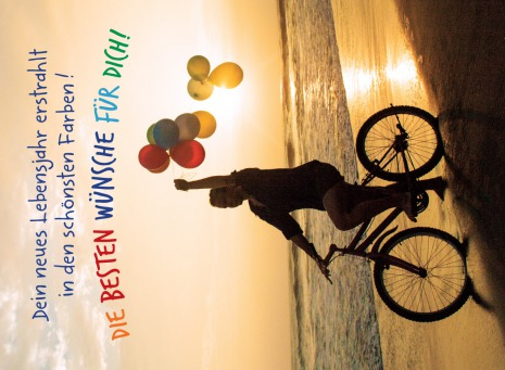 Fair Trade Photo Greeting Card Backlit, Balloon, Beach, Bicycle, Birthday, Colour image, Evening, Invitation, One girl, Outdoor, Party, People, Peru, Sand, Silhouette, South America, Sunset, Transport, Vertical, Water