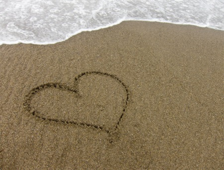 Fair Trade Photo Greeting Card Beach, Closeup, Colour image, Day, Heart, Horizontal, Love, Outdoor, Peru, Sand, Sea, South America, Valentines day, Water