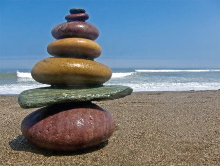 Fair Trade Photo Greeting Card Balance, Beach, Closeup, Colour image, Condolence/Sympathy, Peru, Sea, South America, Stone, Summer, Water, Wellness