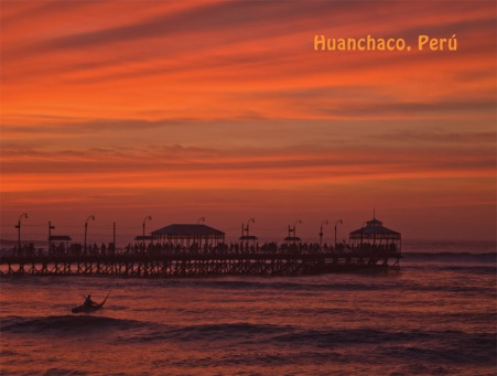 Fair Trade Photo Greeting Card Colour image, Ethnic-folklore, Horizontal, Huanchaco, Peru, Scenic, South America, Sunset, Travel