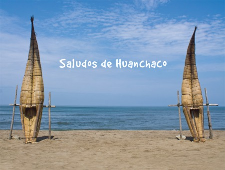 Fair Trade Photo Greeting Card Beach, Colour image, Ethnic-folklore, Fishing boat, Horizontal, Huanchaco, Peru, Sea, South America