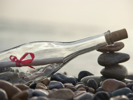 Fair Trade Photo Greeting Card Beach, Bottle, Friendship, Horizontal, Love, Peru, Sand, Sea, South America, Valentines day