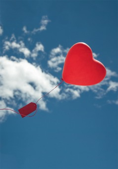 Fair Trade Photo Greeting Card Blue, Clouds, Colour image, Heart, Horizontal, Love, Peru, Red, Sky, South America, Summer, Valentines day, White