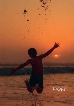 Fair Trade Photo Greeting Card Activity, Backlit, Beach, Colour image, Evening, Freedom, Jumping, One boy, Outdoor, People, Peru, Playing, Sea, Silhouette, Sky, South America, Sunset