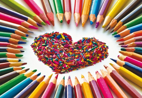 Fair Trade Photo Greeting Card Asia, Closeup, Colour image, Colourful, Heart, Horizontal, India, Indoor, Love, Pencil, Studio, Tabletop, Valentines day