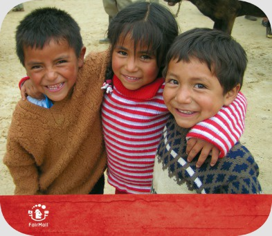 Fair Trade Photo Greeting Card Activity, Animals, Colour image, Cow, Dailylife, Day, Friendship, Group of children, Happiness, Horizontal, Hugging, Looking at camera, Multi-coloured, Outdoor, People, Peru, Portrait halfbody, Rural, Smile, Smiling, South America, Streetlife, Together