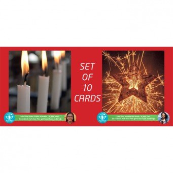 Fair Trade Photo Greeting Card Candle, Christmas, Firework, Star Backside