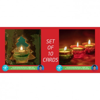 Fair Trade Photo Greeting Card Candle, Christmas Backside