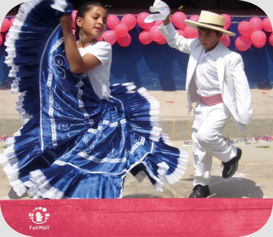 Fair Trade Photo Greeting Card 5-10_years, Balloon, Birthday, Blue, Clothing, Colour image, Dance, Dancing, Ethnic-folklore, Folklore, Horizontal, Latin, Love, Marinera, Marriage, One boy, One girl, Party, People, Peru, Pink, South America, Together, Traditional clothing, Two children