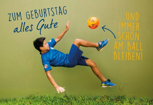Fair Trade Photo Greeting Card Activity, Ball, Colour image, Horizontal, Jumping, One boy, People, Peru, Soccer, South America, Sport