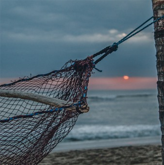 Fair Trade Photo Greeting Card Activity, Beach, Closeup, Colour image, Evening, Hammock, Holiday, Outdoor, Palmtree, Peru, Relaxing, Sea, South America, Sunset, Tree