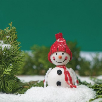 Fair Trade Photo Greeting Card Christmas, Colour image, Green, Horizontal, Peru, Red, Smiling, Snow, Snowman, South America, White