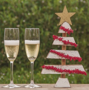 Fair Trade Photo Greeting Card Champagne, Christmas, Colour image, Horizontal, Peru, South America, Star, Tree