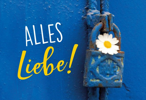 Fair Trade Photo Greeting Card Blue, Colour image, Door, Flower, Horizontal, House, New home, Peru, South America, White