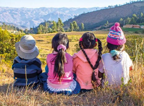 Fair Trade Photo Greeting Card Activity, Colour image, Friendship, Group of girls, Horizontal, People, Peru, Rural, Scenic, Sitting, South America, Travel