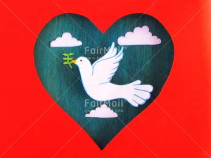 Fair Trade Photo Activity, Animals, Baptism, Bird, Branch, Christianity, Clouds, Colour image, Communion, Confirmation, Crafts, Drawing, Flying, Heart, Heaven, Horizontal, Love, Paper, Peace, Peru, Pigeon, Plant, Red, Religion, Sky, South America, White