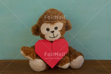 Fair Trade Photo Animals, Colour image, Heart, Horizontal, Love, Monkey, Origami, Peru, Red, South America, Thinking of you