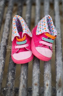 Fair Trade Photo Birth, Closeup, Colour image, Girl, New baby, People, Peru, Pink, Shoe, Shooting style, South America, Vertical