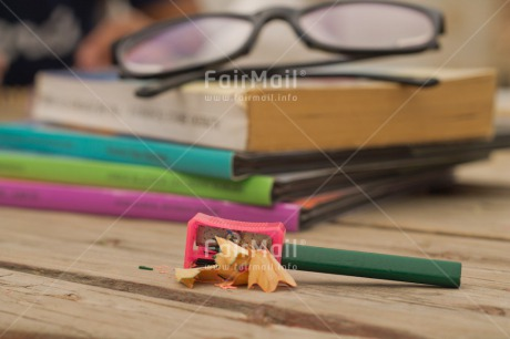 Fair Trade Photo Activity, Book, Colour image, Desk, Education, Exams, Glasses, Horizontal, Multi-coloured, Pencil, Peru, School, Sharpening, South America, Studying