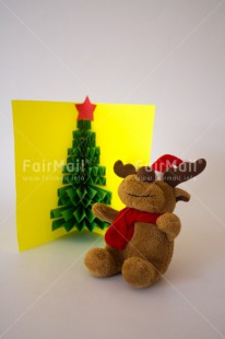 Fair Trade Photo Card, Christmas, Colour image, Crafts, Green, Greeting, Peru, Red, Reindeer, South America, Star, Tree, Vertical, Yellow