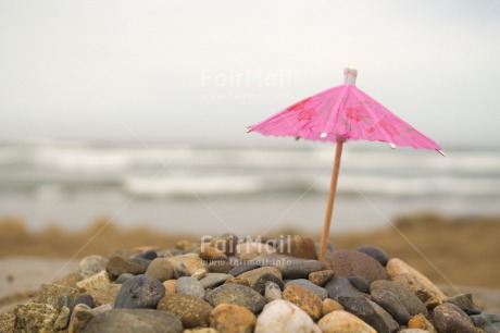 Fair Trade Photo Beach, Colour image, Day, Holiday, Horizontal, Ocean, Outdoor, Peru, Pink, Relax, Sea, Sky, South America, Stone, Umbrella, Water