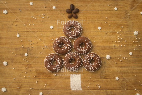 Fair Trade Photo Christmas, Colour image, Doughnut, Horizontal, Indoor, Peru, Seasons, Snow, South America, Star, Sweets, Table, Tree, White, Winter, Wood
