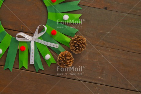 Fair Trade Photo Brown, Christmas, Circle, Colour image, Decoration, Green, Horizontal, Indoor, Peru, Pine, Ribbon, Seasons, South America, Table, Winter, Wood
