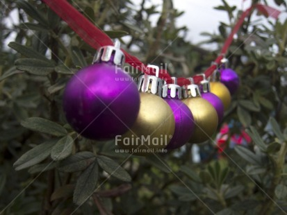 Fair Trade Photo Christmas, Christmas ball, Colour image, Focus on foreground, Gold, Horizontal, Outdoor, Perspective, Peru, Purple, South America, Tabletop
