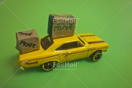 Fair Trade Photo Activity, Car, Carrying, Colour image, Good trip, Green, Horizontal, Moving, New home, Peru, South America, Studio, Transport, Yellow
